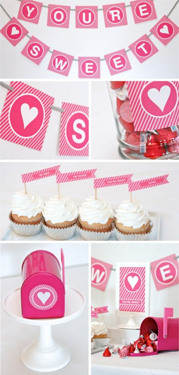 """FREE Printable Party Pack for Valentines with pink stripe """"You're Sweet"""" banner and sign, also cupcake toppers, flags, stickers, labels and a Valentine party favor handout"""
