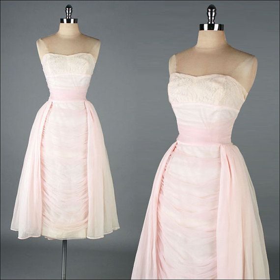 Vintage 1950s Dress  Pale Pink  Wiggle  Lace  by millstreetvintage, $385.00