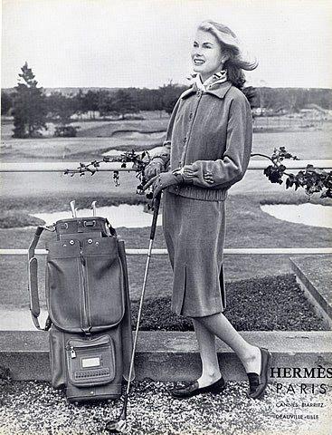 Hermès (Couture) 1958 Suit & Bag Golf, Fashion Photography