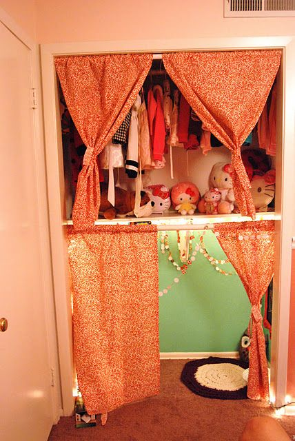 Such a great idea! A little closet fort for the kiddos. Kids are a long way off but this idea is a keeper.