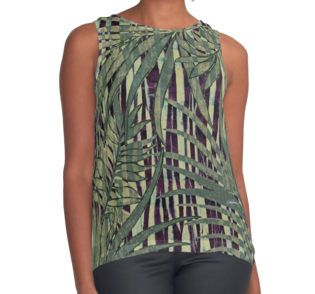 Eggplant Grass and Artichoke Palms Contrast Tank by Polka Dot Studio, new, #vintage #jungle #tropical #palm #art in #green and #magenta for #fashion #apparel #tops for #her. Perfect under jackets, spring and summer #travel, #office or social event. Be comfortable yet stylish, wherever you go!