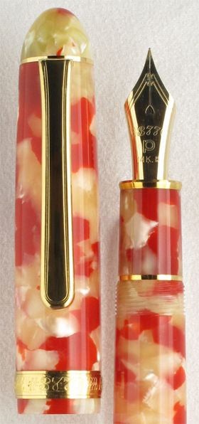Celluloid Koi. Compact and stylish, the Platinum Celluloid Koi fountain pen comes in gold trim. Celluloid is a classic material for fountain pen caps and barrels. The bright, vibrant coloring is evocative of koi fish swimming in a pond on a summer's day. Our price for this stunner just $360.