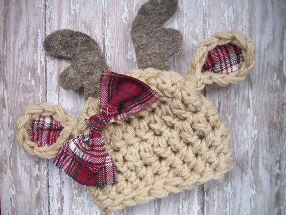 Crochet Country deer baby hat OMG! So cute! Photography props. Christmas. Winter. Animal