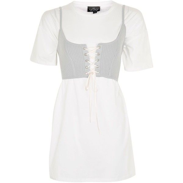 Topshop Petite Corset T-Shirt Tunic ($43) ❤ liked on Polyvore featuring tops, tunics, dresses, white lace up corset, white corset top, white cotton tops, white tunic and corset crop top