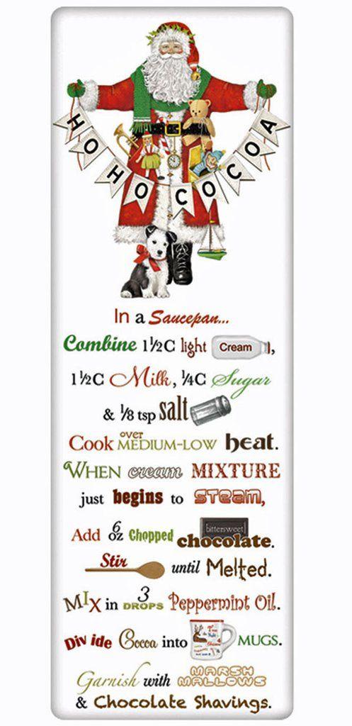 Santa's Hot Cocoa Recipe 100% Cotton Flour Sack Dish Towel Tea Towel