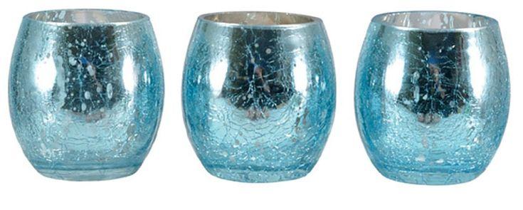 Mark Feldstein VBLM3 Mercury Glass Votive Holder, Silver, 3 Piece