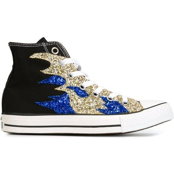 Converse sequin flame sneakers ($155) ❤ liked on Polyvore featuring shoes, sneakers, converse, black, converse sneakers, converse shoes, black shoes, cotton shoes and black trainers