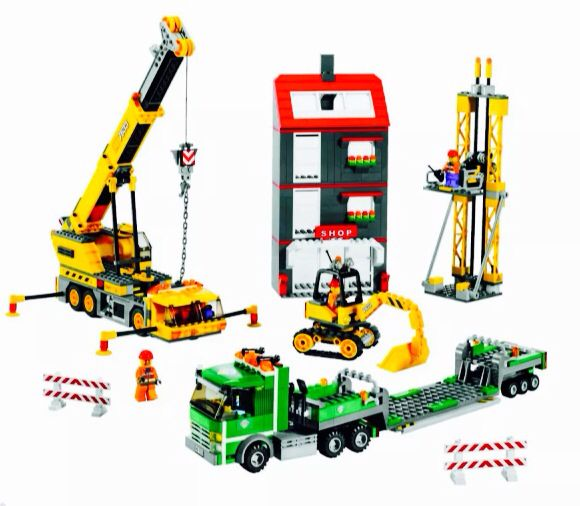 Lego construction site set 7633 2009 city town crane truck transporter semi train prop kids room decor
