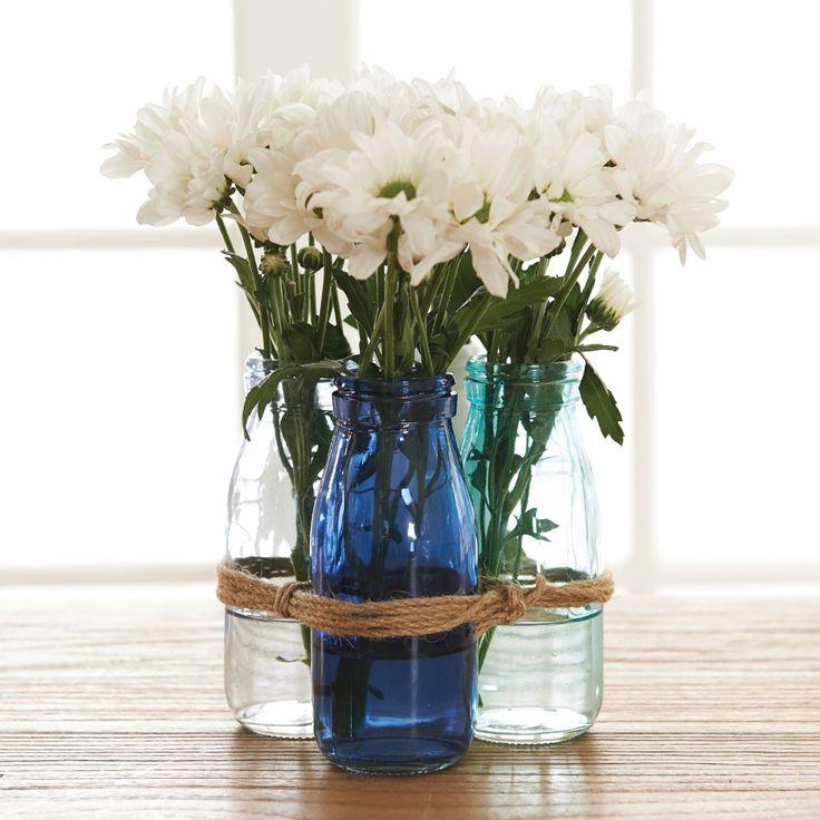 MILK BOTTLE VASE SET OF 4  - GLASS