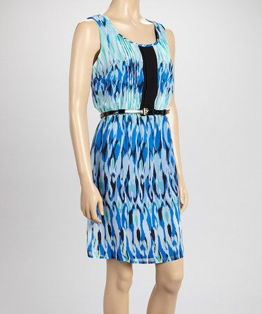 Look what I found on #zulily! Blue Ikat Belted Dress by Emma & Michele #zulilyfinds