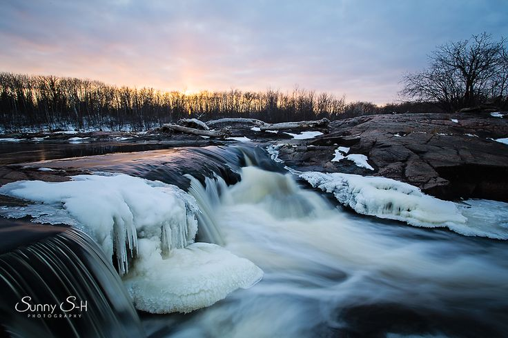 whitemouth falls, Manitoba in spring during thaw.