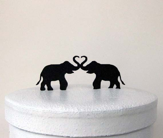 Wedding Cake Topper Two Elephants Elephant by Plasticsmith