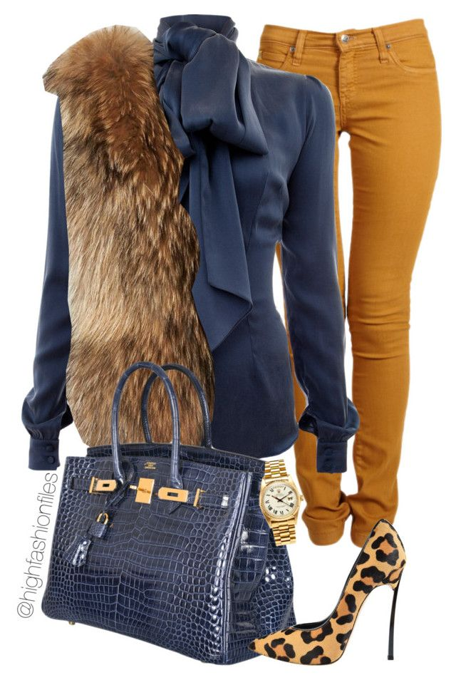 """Regal"" by highfashionfiles ❤ liked on Polyvore featuring Second, Safiyaa, Adrienne Landau, Hermès, Casadei and Rolex"