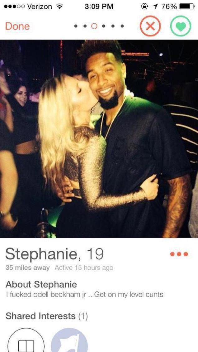 Tinder Girl Brags About Having Sex With Odell Beckham Jr. in Tinder Bio  --- Thots out of control