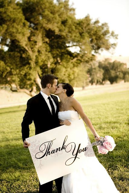 Wedding Photo Ideas - Say thank you to your wedding guests in an original way. Sweet! #photo #ideas #props #poses