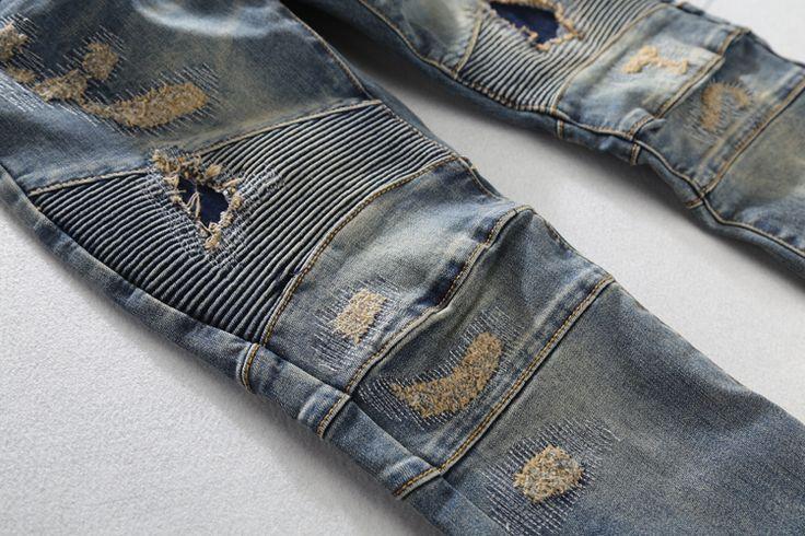 Aliexpress.com: Comprar Nwt BP hombres Runway moda hem Distroyed apenado delgado estiramiento del motorista vaqueros lavados 28 38 ( # ) de talla 20 pantalones vaqueros flacos fiable proveedores en fanny li's store