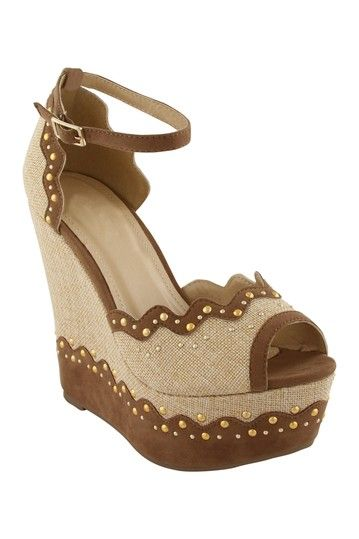 EXTREME by Eddie Marc Bonnie Canvas Studded Wedge by Living On The Wedge on @HauteLook