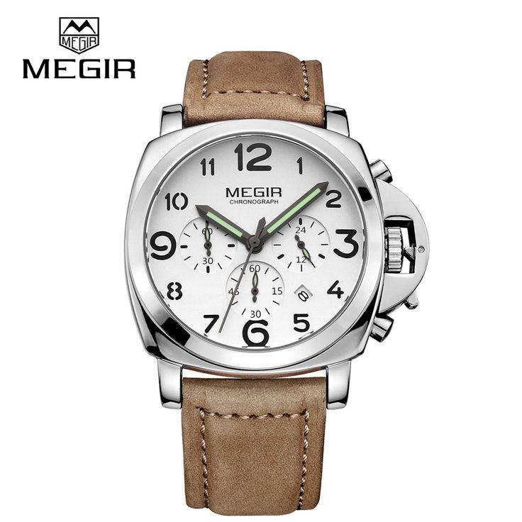 Free shipping MEGIR 3406 Fashion Quartz Watches Genuine Men Nubuck Leather Strap Men's Wristwatch Analog Display Waterproof