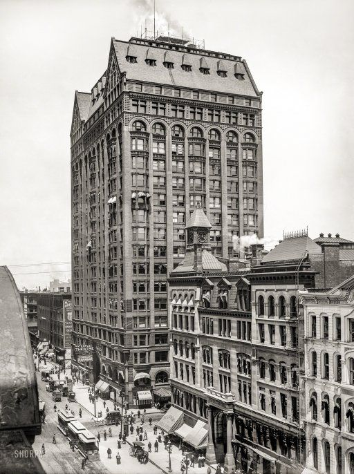 """September 11, 1900. """"Masonic Temple, State Street, Chicago -- Temple Theatre and Central Music Hall."""" Completed 1892; demolished 1939. Shortly after this photo was taken, Central Music Hall met the wrecking ball to make way for the Marshall Field department store."""