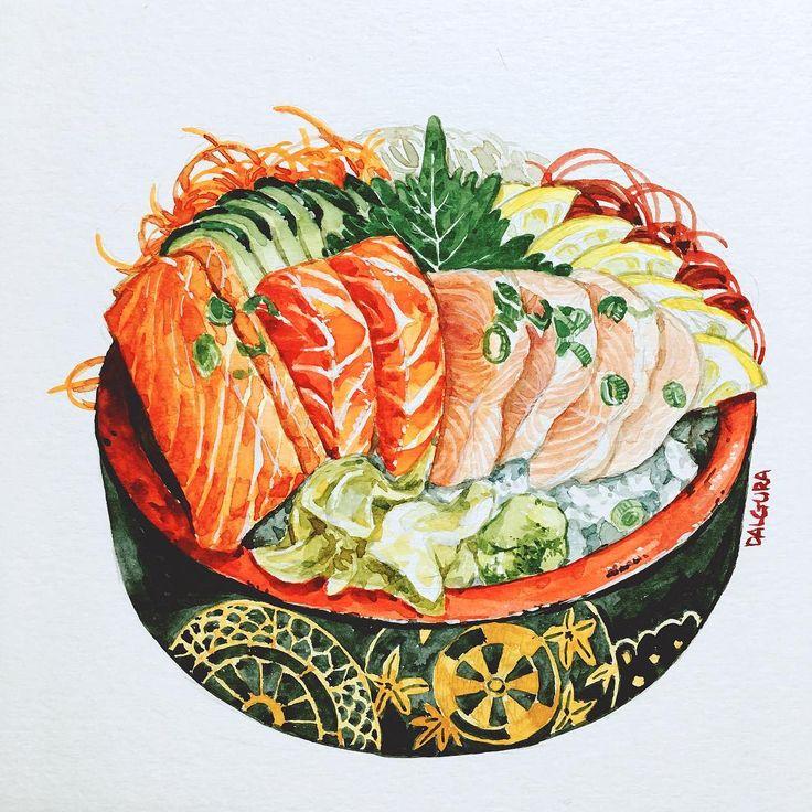 """451 Likes, 13 Comments - watercolor food painting/맛있는그림 (@dalgura) on Instagram: """"모듬사시미. 오늘그림은 시간이 좀 걸렸음. 회 그리고있으려니까 물회가 먹고싶다!!! 어진이네 가야징 ㅋㅋㅋㅋㅋㅋ さしみ合わせ。 今日はちょっと時間かかりました。…"""""""