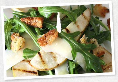 Grilled Pear, Rocket and Parmesan Salad with Pangritata - Tripod Farmers