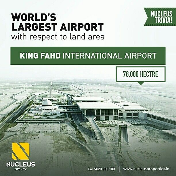 World's largest airport with respect to land area is King Fahd International Airport (78000 ha) located in northwest of Dammam, Saudi Arabia.   #Trivia #Kerala #Kochi #India #Airport #Architecture #Home #Construction #City #Elegance #Environment #Elegant #Building #Beauty #Beautiful #Exquisite #Interior #Design #Comfort #Luxury #Life #SaudiArabia #Gorgeous #Style #LifeStyle #RealEstate #Nature #View #Atmosphere #Apartment