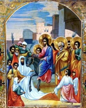 When Is Palm Sunday 2016?: Russian icon of Christ's entrance into Jerusalem on Palm Sunday.