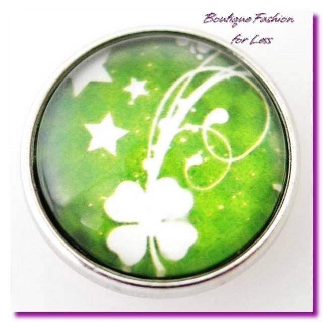 Snaps Charm Pop for Chunk Bracelet St Patricks Day Clover Irish Luck #Unbranded #SnapChunkButtonCharm