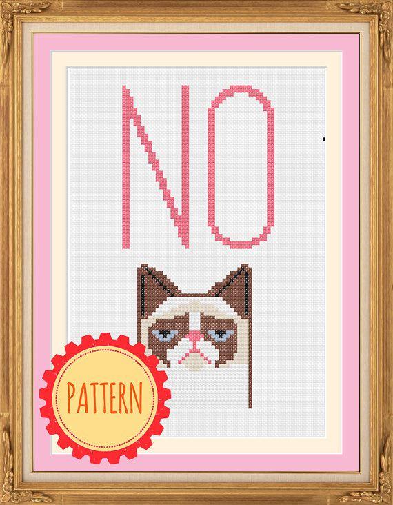 PATTERN: NO, Grumpy Cat pdf cross stitch chart - instant download