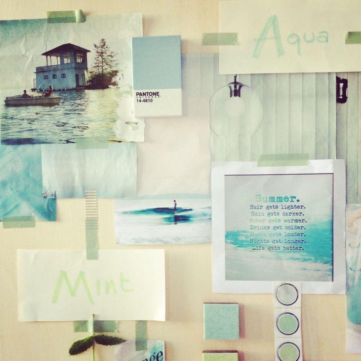 summer moodboard: aqua, mint, by italianbark