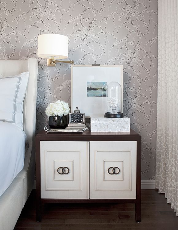 Calgary Interior Design Firm | Corea Sotropa Interior Design | Master Bedroom Suite | cherry blossom wallpaper, leontine linens, upholstered headboard, wall sconce