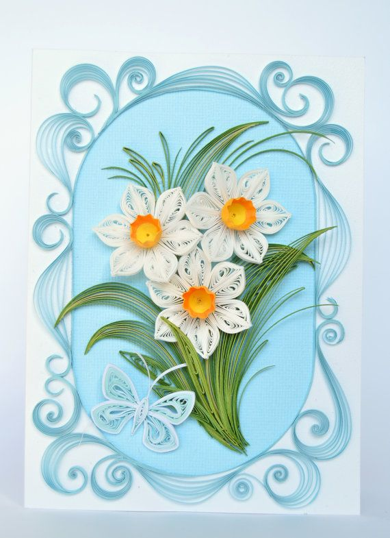 Quilling Card with charming Spring daffodils - Birthday quilling Card - Love quilling card - Spring flowers