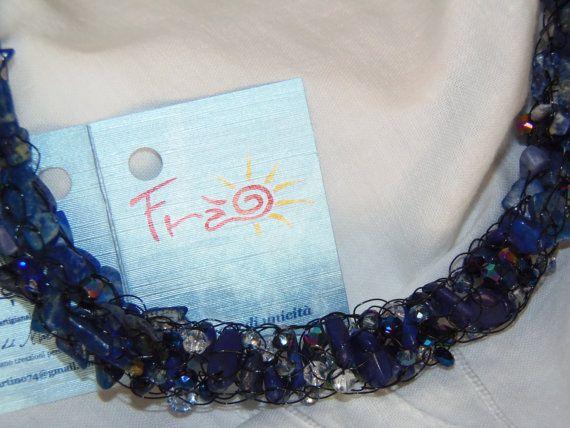 Collana torchon intreccio french knitter in chips di Handcraftmood