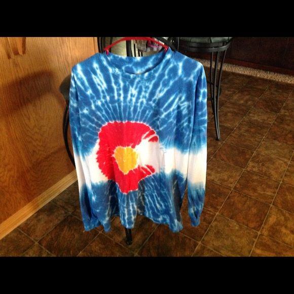 Long sleeve tie dye Colorado Flag shirt   Pre shrunk, never worn tee, long tail , cotton, Colorado Flag shirt. Handmade in Fort Collins , Co Tops Tees - Long Sleeve