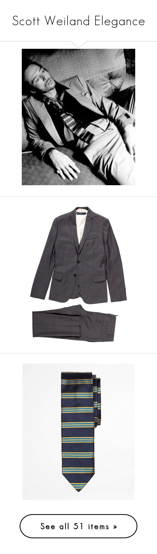 """""""Scott Weiland Elegance"""" by lacerta ❤ liked on Polyvore featuring rock, stone, dandy, men's fashion, men's clothing, men's suits, grey, mens grey 3 piece suit, mens grey suits and mens suits"""