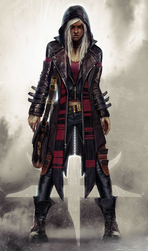 Precipice: Nastasya by DylanPierpont female matrix cyberpunk hacker rogue assassin thief leather armor clothes clothing fashion player character npc | Create your own roleplaying game material w/ RPG Bard: www.rpgbard.com | Writing inspiration for Dungeons and Dragons DND D&D Pathfinder PFRPG Warhammer 40k Star Wars Shadowrun Call of Cthulhu Lord of the Rings LoTR + d20 fantasy science fiction scifi horror design | Not our art: click artwork for source: