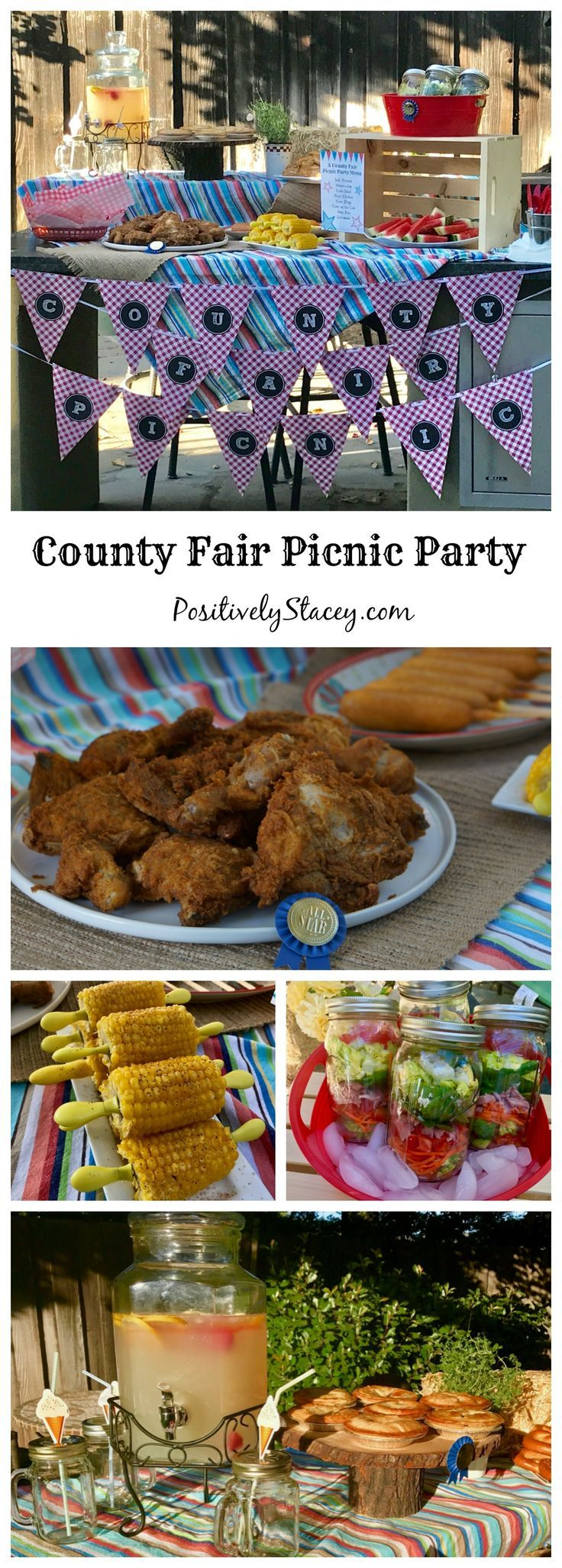 A County Fair Picnic Party that includes a yummy make-ahead menu of favorite fair foods and carnival games for everyone to play. #ad @Evite #Evite