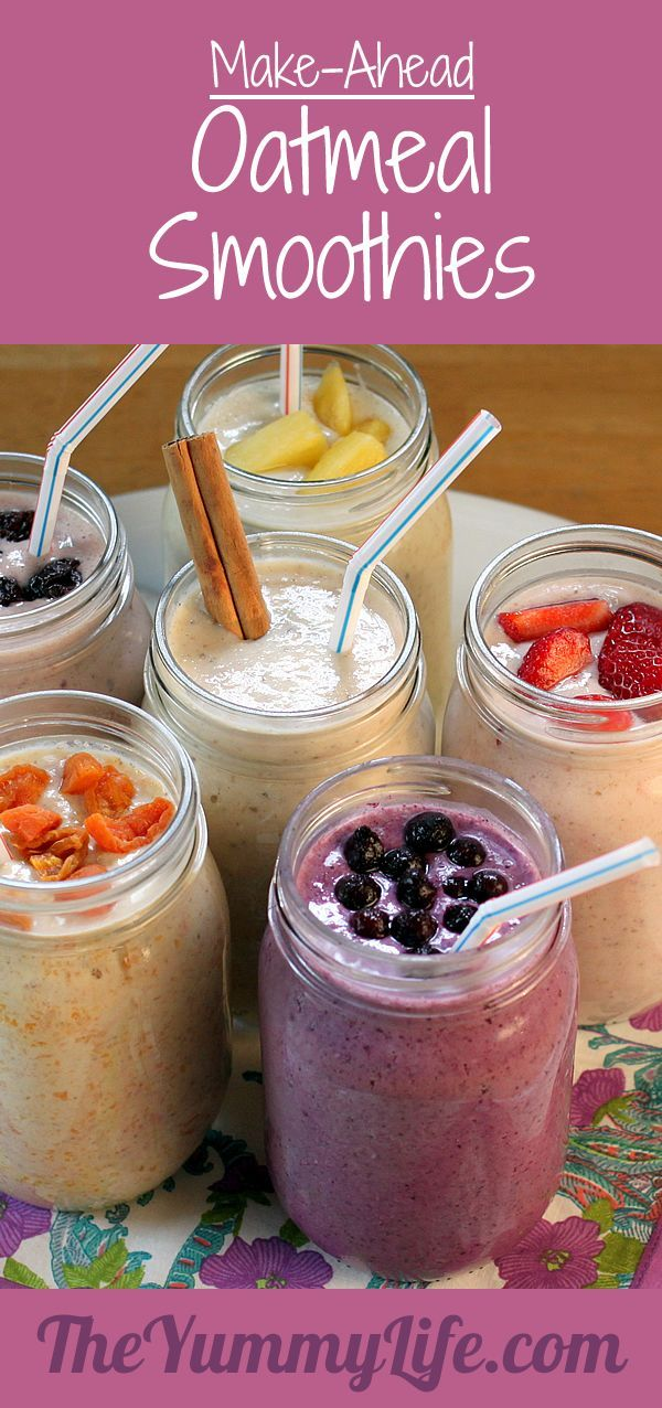 Make-Ahead Oatmeal Smoothies. Healthy & delicious with grab-and-go…