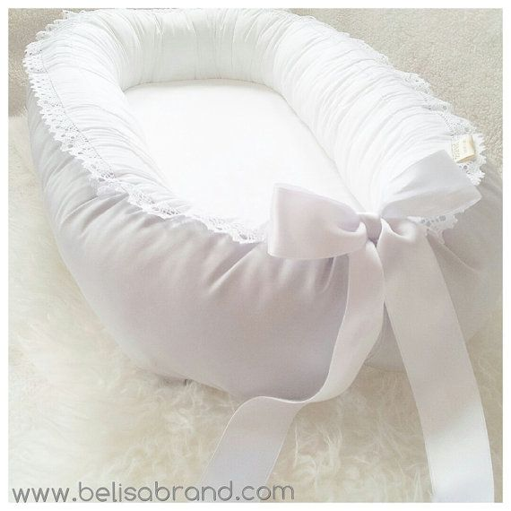 Light grey Lace and Satin ribbon Babynest baby par BelisaBrand