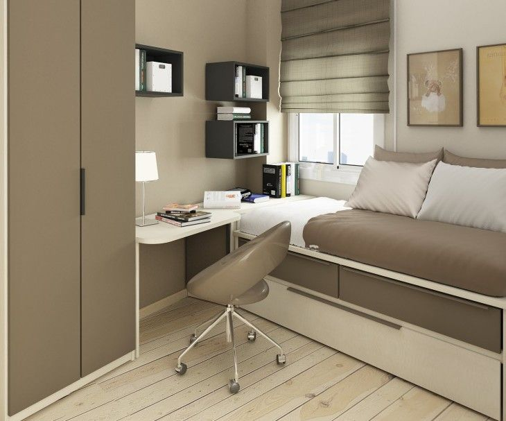 Elegant Beige Wooden Floor Small Kids Bedroom With Simple Study Area And Functional Bed - pictures, photos, images
