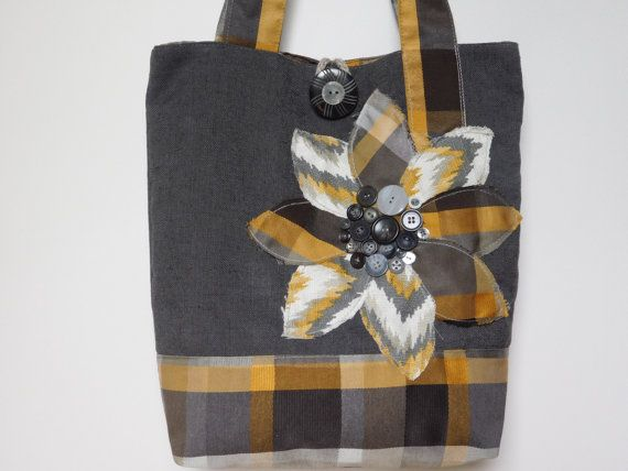 Womens Grey Fabric Tote Bag Handmade by BerkshireCollections