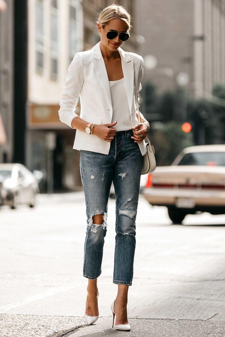 Fashion Jackson Blonde Woman Wearing White Blazer Distressed Jeans Outfit, Street Style, Dallas Blogger, Fashion Blogger #womenjeans