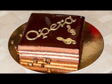 Торт Опера с зеркальной глазурью   Opera Cake with Chocolate Mirror Glaze - YouTube