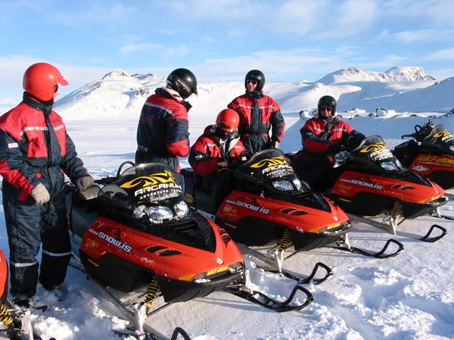 Snowmobile tour from Myrdalsjokull Glacier in the south