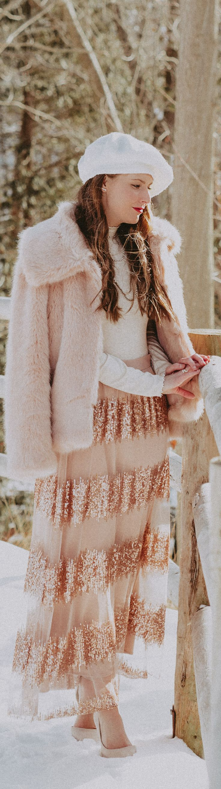 adore this blush skirt, pink outfit, valentines outfit, winter style, fur coat, beret, sparkly sequin skirt