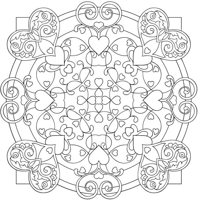 Heart Mandalas Coloring Book Dover Publications