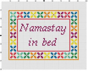 Namastay in Bed Cross Stitch Pattern Instant by SnarkyArtCompany