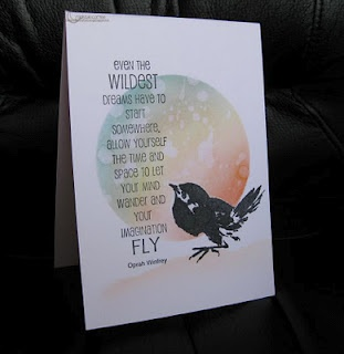 handmade card ... clean and simple ... great sentiment ... matted circle with water colors ... bird and sentiment stamped on top ...