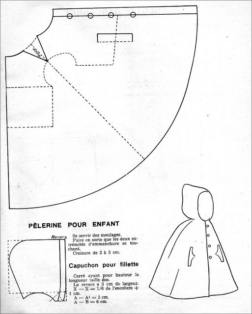 FREE Vintage 1950s Kid's Hooden Cloak Sewing Pattern and Tutorial