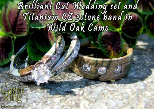 wild oak camo rings - Orange Camo Wedding Rings